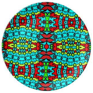 Luxury colourful tribal designer porcelain plate