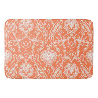 Luxury Coral and White Damask Pattern Decorative Bath Mat
