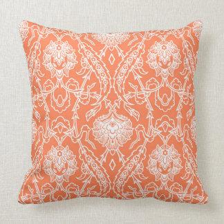 Luxury Coral and White Damask Pattern Decorative Cushion