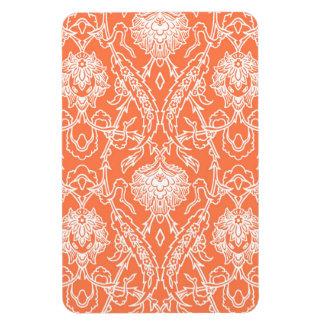 Luxury Coral and White Damask Pattern Decorative Rectangular Photo Magnet