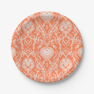 Luxury Coral and White Damask Pattern Decorative Paper Plate
