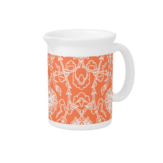 Luxury Coral and White Damask Pattern Decorative Pitcher