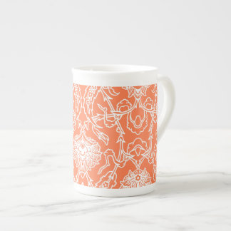Luxury Coral and White Damask Pattern Decorative Tea Cup