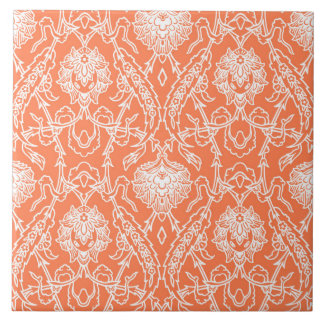 Luxury Coral and White Damask Pattern Decorative Tile