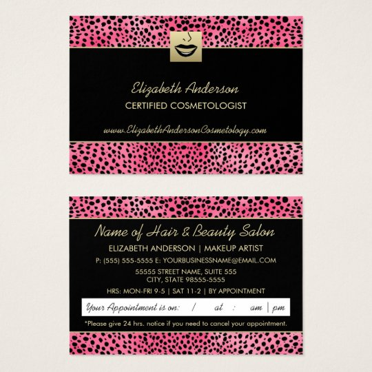 Luxury Cosmetology Pink Cheetah Print Appointment Business Card