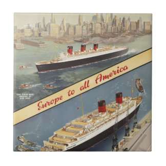 Luxury Cruises Travel Europe to all America Small Square Tile