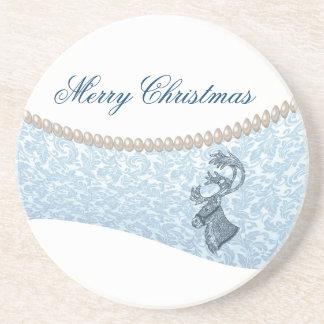luxury damask  pearls  Christmas holiday reindeer Drink Coasters