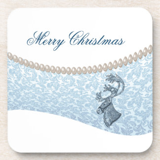 luxury damask  pearls  Christmas holiday reindeer Beverage Coaster