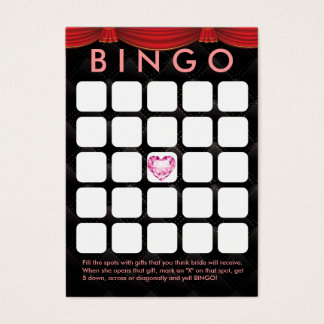 Luxury Diamond Heart Bridal Shower 5x5 Bingo Card