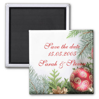 Luxury Elegant Christmas Winter Save the date Square Magnet