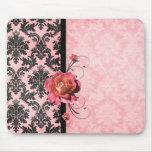 Luxury Elegant Damask Pink Rose Mousepad