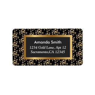 Luxury Elegant Gold Heart Pattern Return Address Label