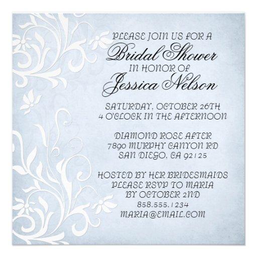 Luxury Elegant Light Blue Floral Shower Invite Personalized Invite