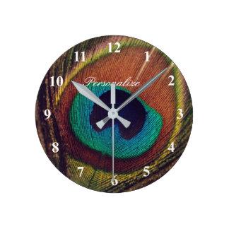 Luxury elegant peacock feather eye photo custom wall clocks