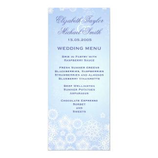 Luxury Elegant Winter Snowflakes Wedding Menu Card