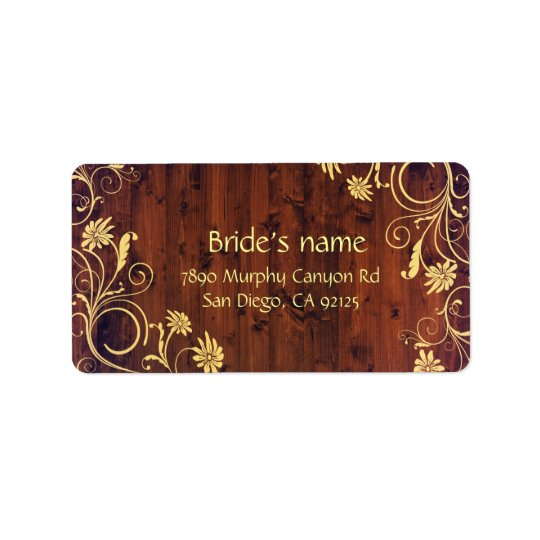 Luxury Elegant Wood Floral Address label