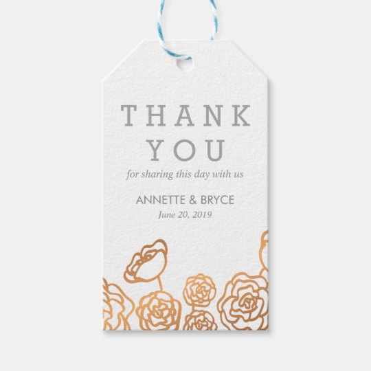 Luxury Faux Gold Foil Floral Wedding Thank You