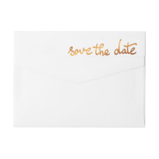 Luxury Faux Gold Foil Save The Date Typography Wrap Around Label