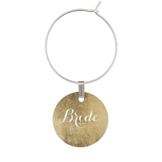 Luxury faux gold leaf bride wine charm