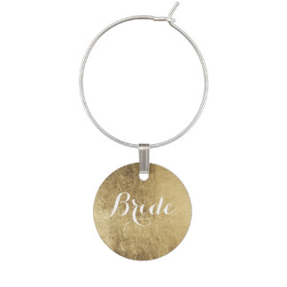 Luxury faux gold leaf bride wine glass charms
