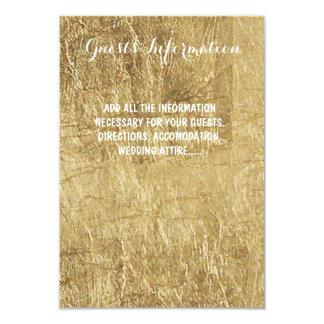 Luxury faux gold leaf wedding guest info 9 cm x 13 cm invitation card