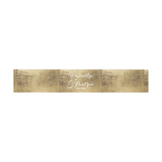 Luxury faux gold leaf wedding invitation belly band