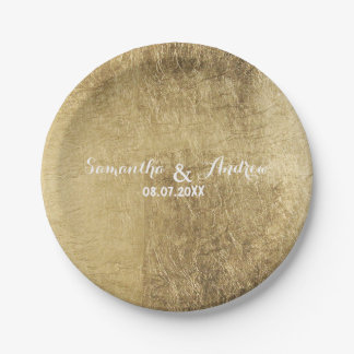 Luxury faux gold leaf wedding paper plate