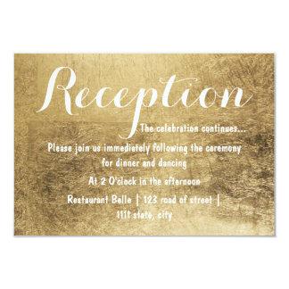 Luxury faux gold leaf wedding reception 9 cm x 13 cm invitation card