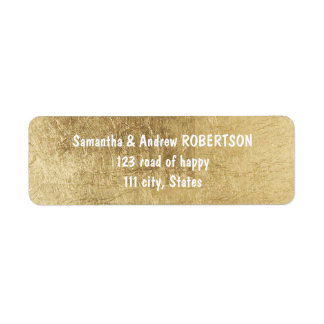 Luxury faux gold leaf wedding return address label