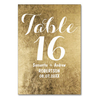 Luxury faux gold leaf wedding table number