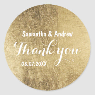 Luxury faux gold leaf wedding Thank you Round Sticker