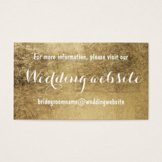 Luxury faux gold leaf wedding website business card