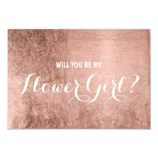 Luxury faux rose gold leaf be my flower girl card