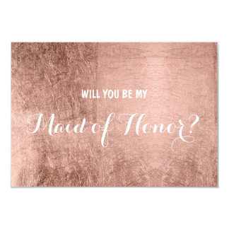 Luxury faux rose gold leaf be my maid of honor card