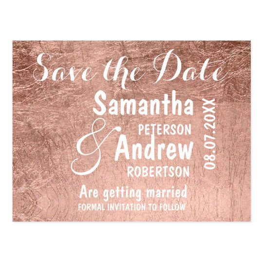 Luxury faux rose gold leaf save the date