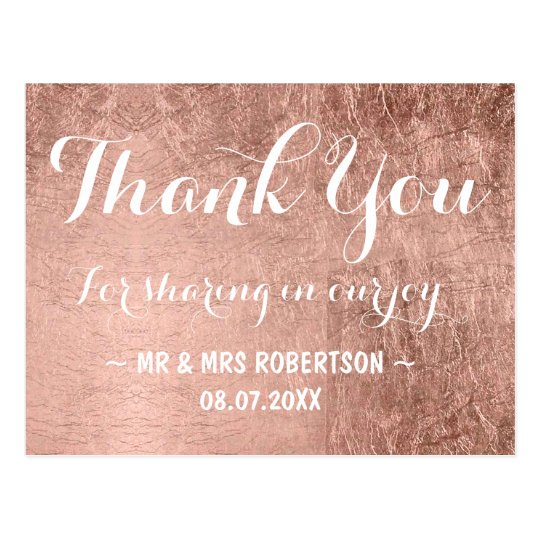 Luxury faux rose gold leaf thank you postcard