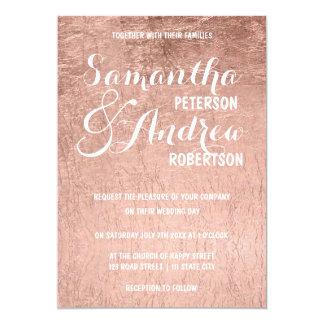 Luxury faux rose gold leaf Wedding 13 Cm X 18 Cm Invitation Card