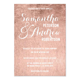Luxury faux rose gold leaf Wedding Card