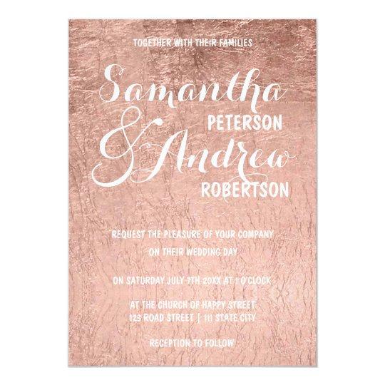 Luxury faux rose gold leaf Wedding Card