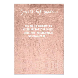 Luxury faux rose gold leaf wedding guest info 9 cm x 13 cm invitation card