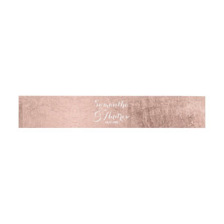 Luxury faux rose gold leaf wedding invitation belly band