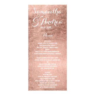Luxury faux rose gold leaf wedding menu