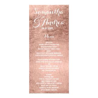 Luxury faux rose gold leaf wedding menu personalised rack card