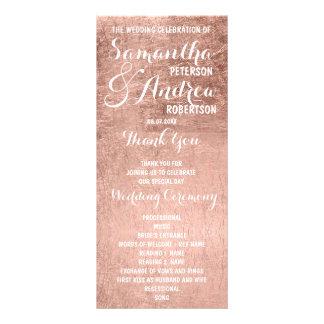Luxury faux rose gold leaf Wedding Program Customised Rack Card