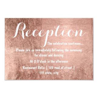 Luxury faux rose gold leaf wedding reception card