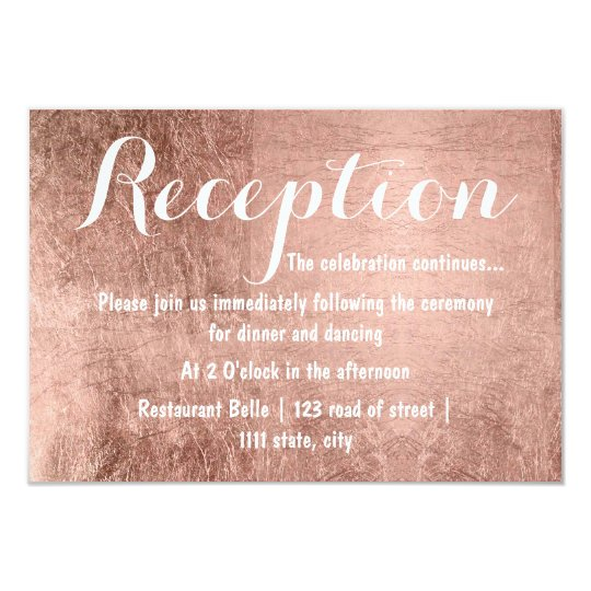 Luxury faux rose gold leaf wedding reception card