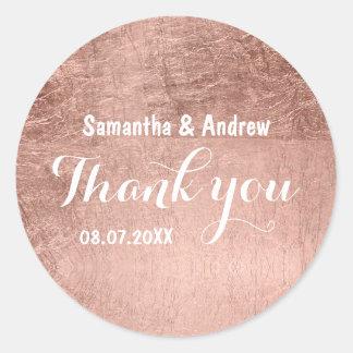 Luxury faux rose gold leaf wedding Thank you Round Sticker