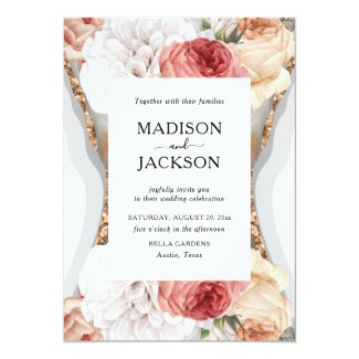 Luxury Floral Marble Glitter Gold Invitation