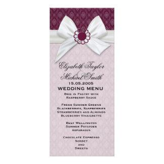 Luxury Frame Ribbon Plum Damask Wedding Menu Invites