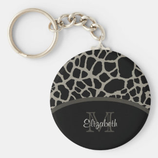 Luxury Giraffe Print Elegant Monogram and Name Basic Round Button Key Ring